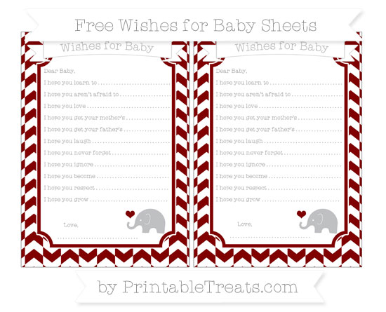 Free Maroon Herringbone Pattern Baby Elephant Wishes for Baby Sheets