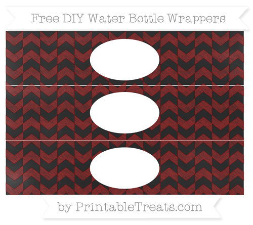 Free Maroon Herringbone Pattern Chalk Style DIY Water Bottle Wrappers
