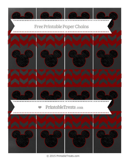 Free Maroon Herringbone Pattern Chalk Style Mickey Mouse Paper Chains
