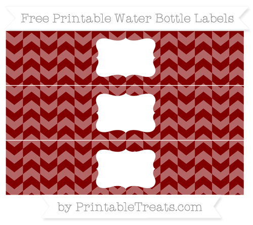 Free Maroon Herringbone Pattern Water Bottle Labels