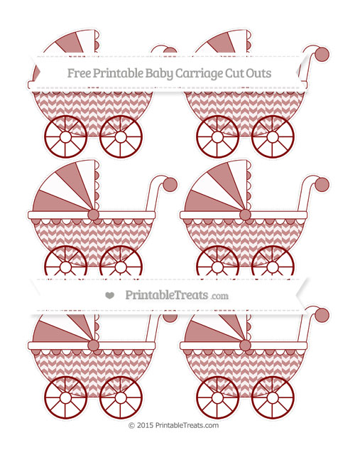 Free Maroon Herringbone Pattern Small Baby Carriage Cut Outs
