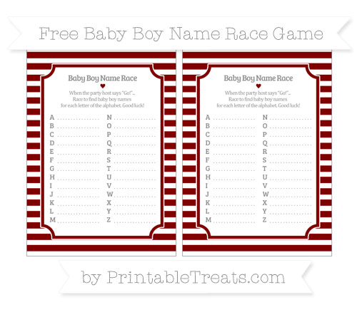 Free Maroon Horizontal Striped Baby Boy Name Race Game