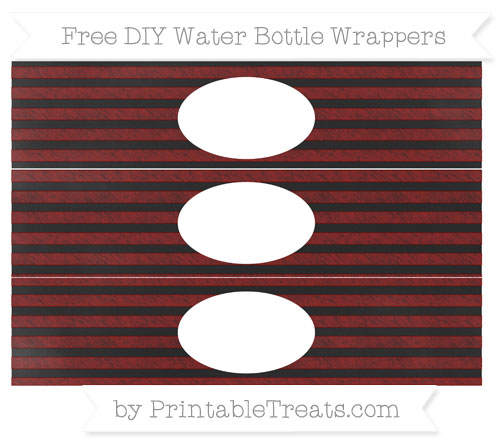 Free Maroon Horizontal Striped Chalk Style DIY Water Bottle Wrappers