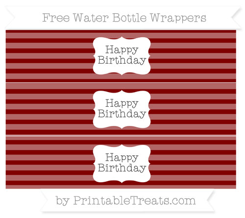 Free Maroon Horizontal Striped Happy Birhtday Water Bottle Wrappers