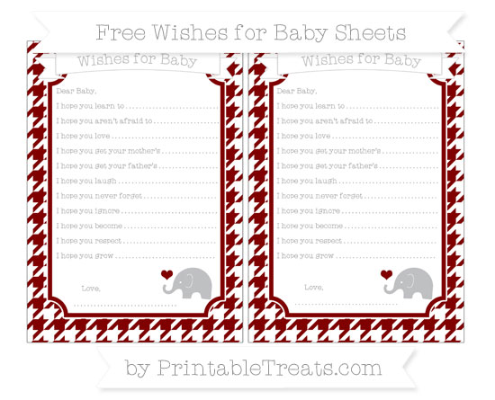 Free Maroon Houndstooth Pattern Baby Elephant Wishes for Baby Sheets
