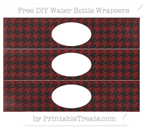 Free Maroon Houndstooth Pattern Chalk Style DIY Water Bottle Wrappers