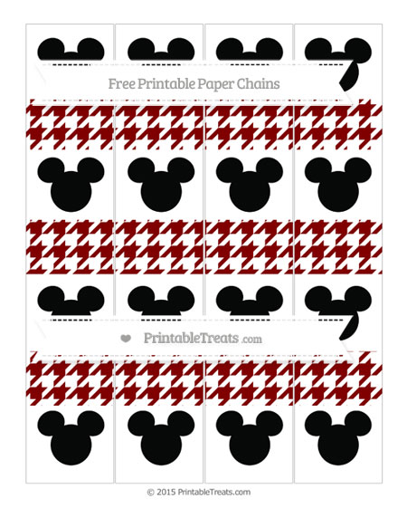 Free Maroon Houndstooth Pattern Mickey Mouse Paper Chains