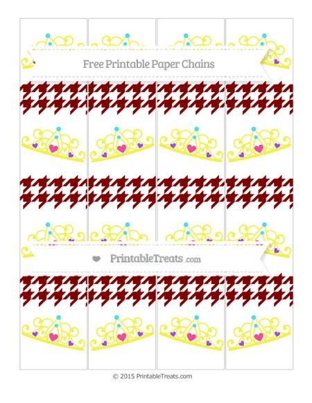 Free Maroon Houndstooth Pattern Princess Tiara Paper Chains