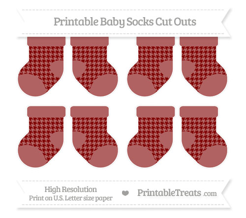 Free Maroon Houndstooth Pattern Small Baby Socks Cut Outs