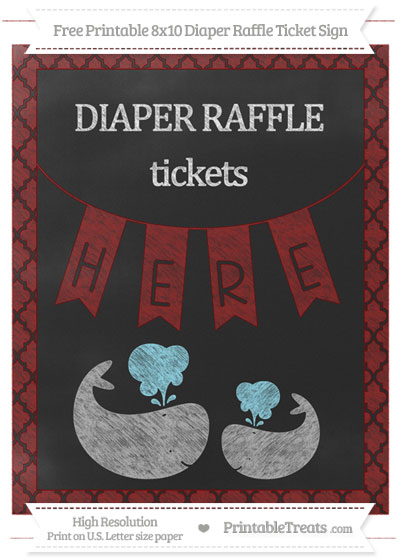 Free Maroon Moroccan Tile Chalk Style Baby Whale 8x10 Diaper Raffle Ticket Sign