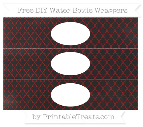Free Maroon Moroccan Tile Chalk Style DIY Water Bottle Wrappers