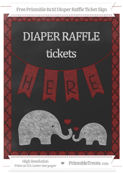 Free Maroon Moroccan Tile Chalk Style Elephant 8x10 Diaper Raffle Ticket Sign