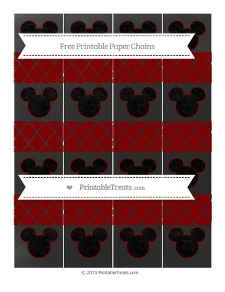 Free Maroon Moroccan Tile Chalk Style Mickey Mouse Paper Chains