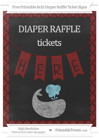 Free Maroon Moroccan Tile Chalk Style Whale 8x10 Diaper Raffle Ticket Sign