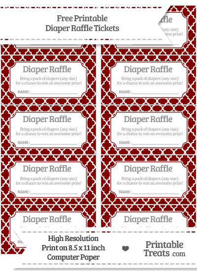 Free Maroon Moroccan Tile Diaper Raffle Tickets
