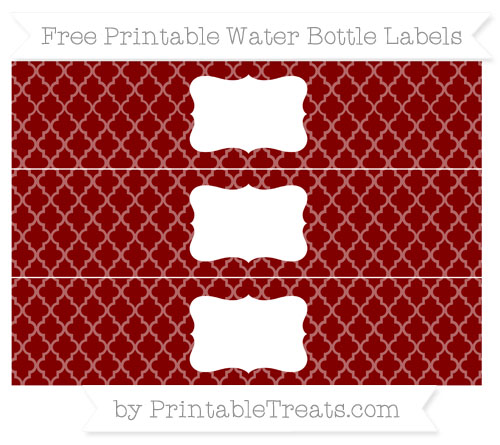 Free Maroon Moroccan Tile Water Bottle Labels