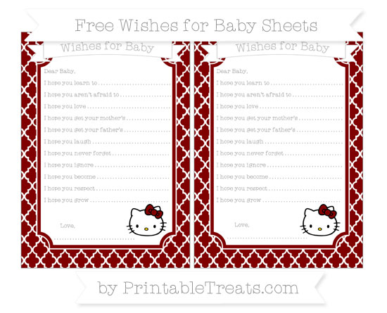 Free Maroon Moroccan Tile Hello Kitty Wishes for Baby Sheets