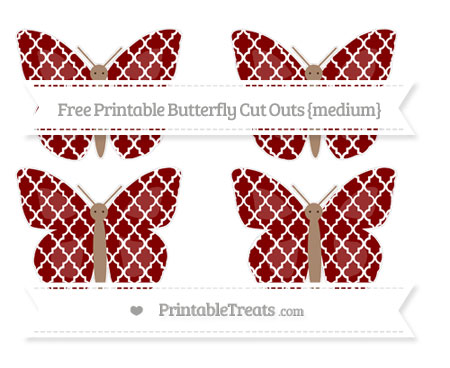 Free Maroon Moroccan Tile Medium Butterfly Cut Outs