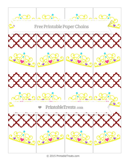 Free Maroon Moroccan Tile Princess Tiara Paper Chains