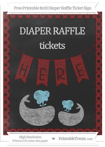 Free Maroon Polka Dot Chalk Style Baby Whale 8x10 Diaper Raffle Ticket Sign