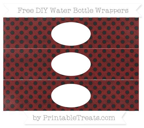 Free Maroon Polka Dot Chalk Style DIY Water Bottle Wrappers