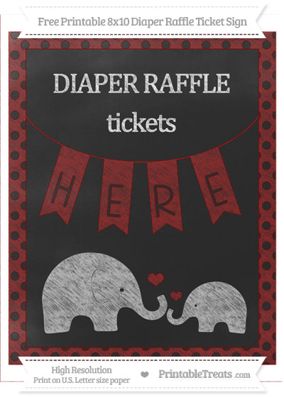 Free Maroon Polka Dot Chalk Style Elephant 8x10 Diaper Raffle Ticket Sign