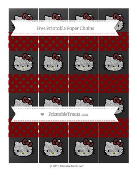 Free Maroon Polka Dot Chalk Style Hello Kitty Paper Chains