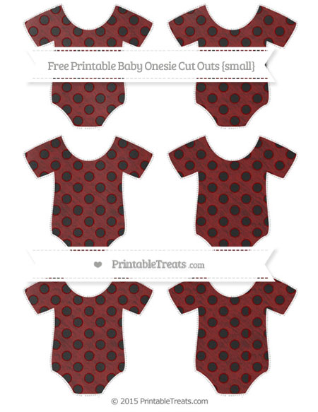 Free Maroon Polka Dot Chalk Style Small Baby Onesie Cut Outs