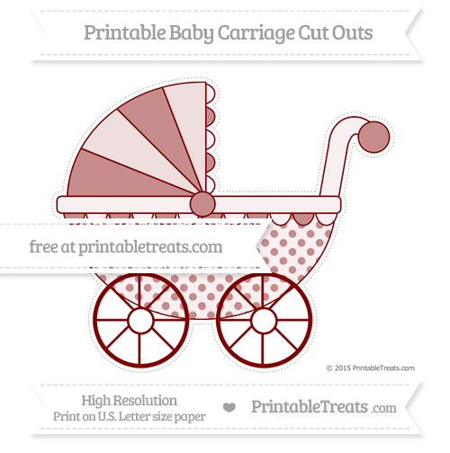 Free Maroon Polka Dot Extra Large Baby Carriage Cut Outs
