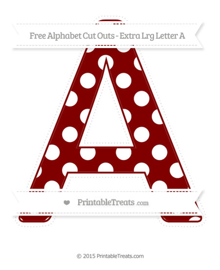 Free Maroon Polka Dot Extra Large Capital Letter A Cut Outs