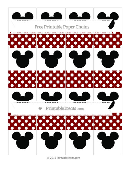 Free Maroon Polka Dot Mickey Mouse Paper Chains
