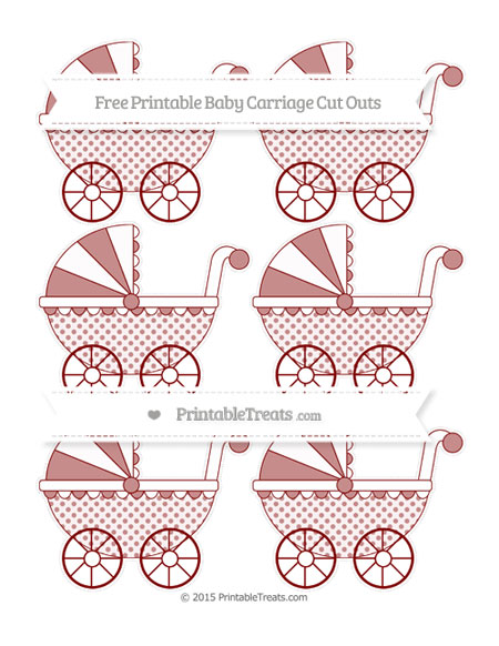 Free Maroon Polka Dot Small Baby Carriage Cut Outs