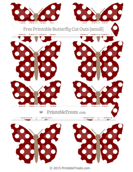 Free Maroon Polka Dot Small Butterfly Cut Outs