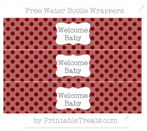 Free Maroon Polka Dot Welcome Baby Water Bottle Wrappers