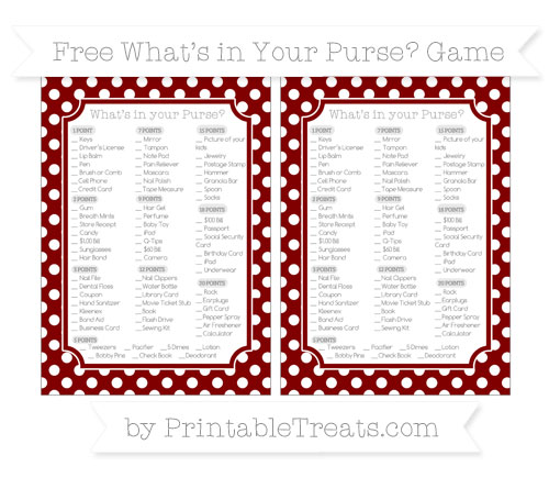 Free Maroon Polka Dot What's in Your Purse Baby Shower Game