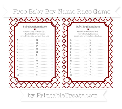 Free Maroon Quatrefoil Pattern Baby Boy Name Race Game