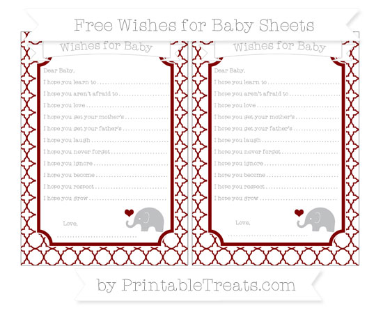 Free Maroon Quatrefoil Pattern Baby Elephant Wishes for Baby Sheets