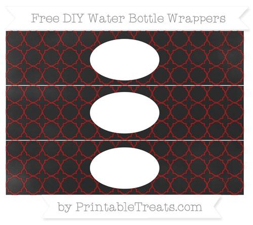 Free Maroon Quatrefoil Pattern Chalk Style DIY Water Bottle Wrappers