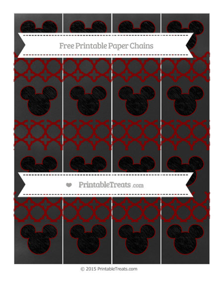 Free Maroon Quatrefoil Pattern Chalk Style Mickey Mouse Paper Chains