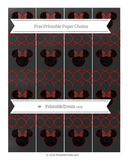 Free Maroon Quatrefoil Pattern Chalk Style Minnie Mouse Paper Chains
