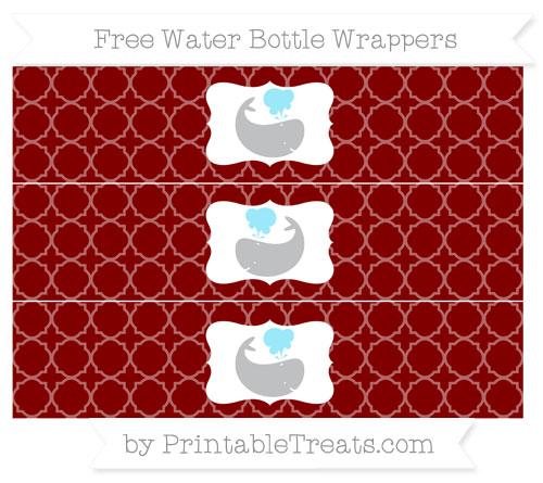 Free Maroon Quatrefoil Pattern Whale Water Bottle Wrappers