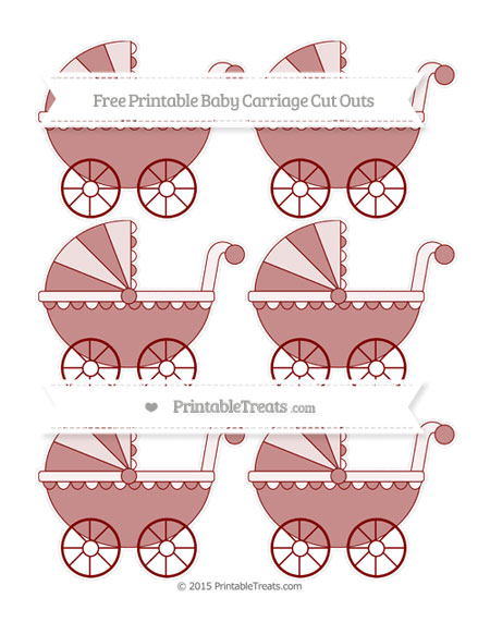 Free Maroon Small Baby Carriage Cut Outs