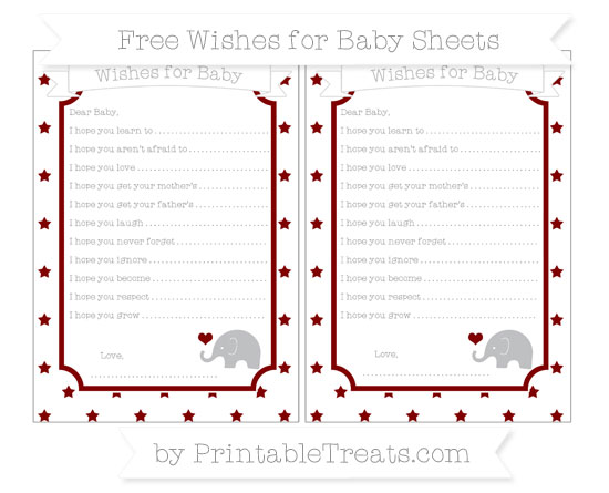 Free Maroon Star Pattern Baby Elephant Wishes for Baby Sheets