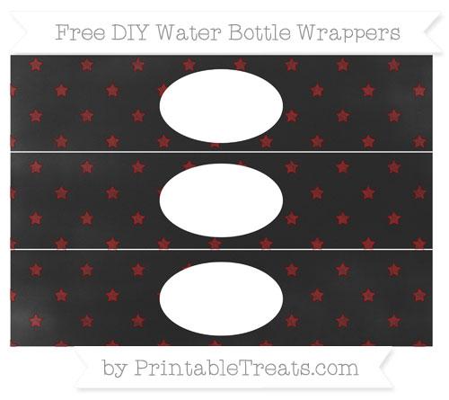 Free Maroon Star Pattern Chalk Style DIY Water Bottle Wrappers