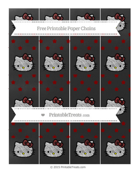 Free Maroon Star Pattern Chalk Style Hello Kitty Paper Chains