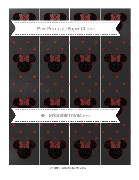 Free Maroon Star Pattern Chalk Style Minnie Mouse Paper Chains