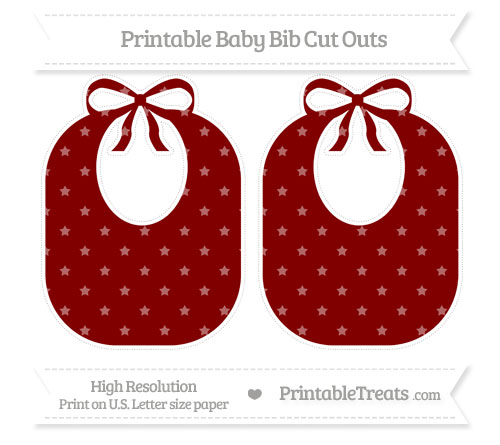 Free Maroon Star Pattern Large Baby Bib Cut Outs
