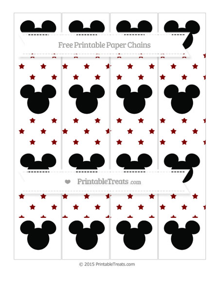 Free Maroon Star Pattern Mickey Mouse Paper Chains