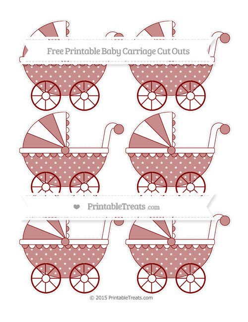 Free Maroon Star Pattern Small Baby Carriage Cut Outs