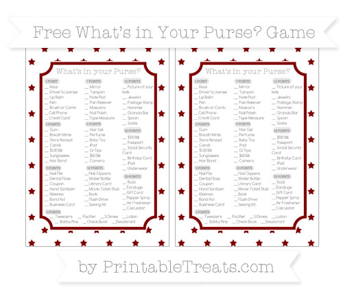 Free Maroon Star Pattern What's in Your Purse Baby Shower Game
